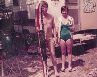 Ron Grover, as a young water skier, with his wife Darlene.