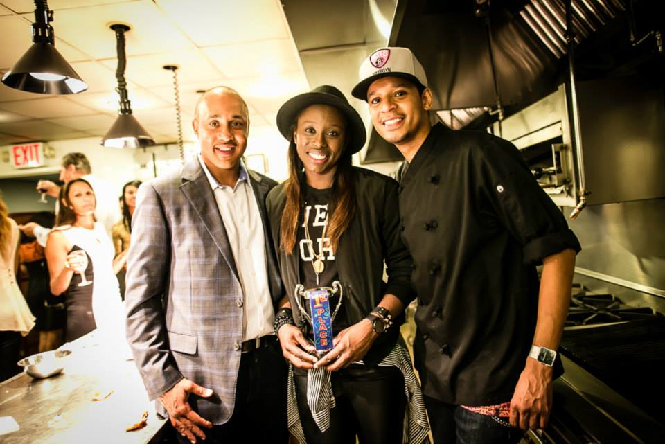 NBA Legend John Starks, New York Liberty guard/forward Essence Carson and VIP Chef Roblé at the All-Star Tasting