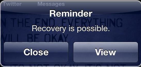 "Reminder popup - ""Recovery is possible."""