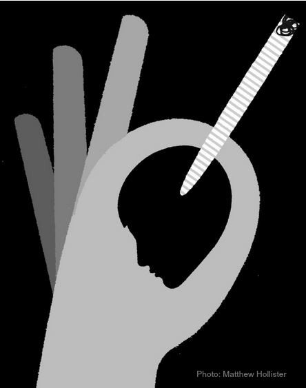 marijuana legalization - hand holding joint with silhouette of head graphic