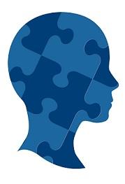 puzzle brain head profile graphic