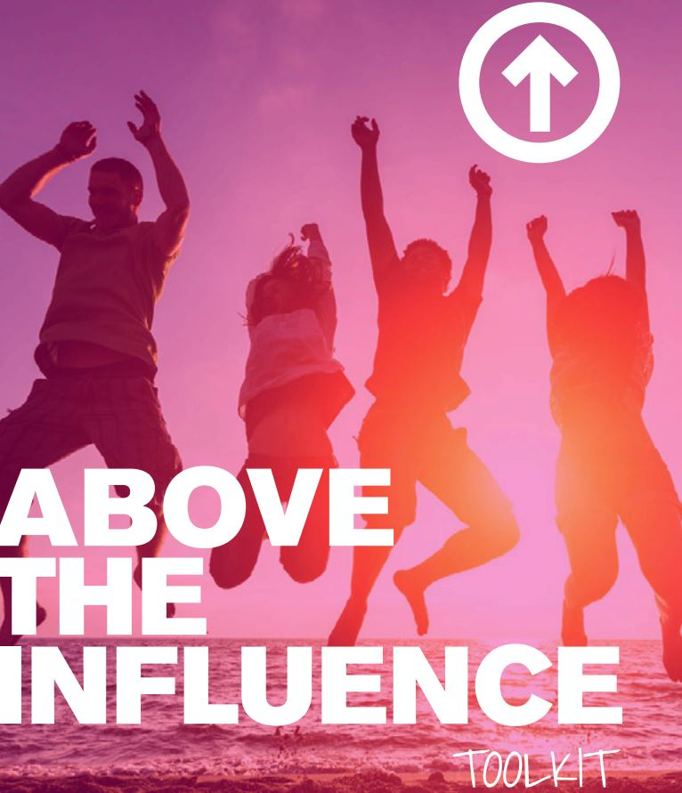 above the influence toolkit - teens jumping on beach graphic