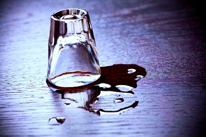 upside down empty shot glass