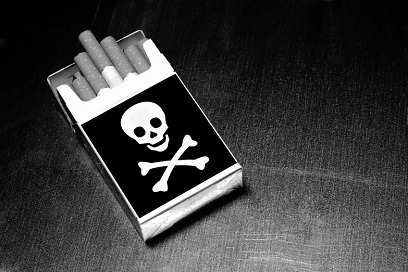smoking kills - pack of cigarettes with skull and crossbones on box