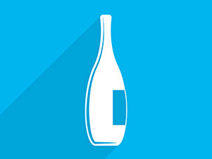 white wine bottle on blue graphic