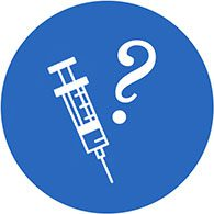clip art of a syringe and question mark