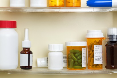 Medications on the Shelves of a Medicine Cabinet
