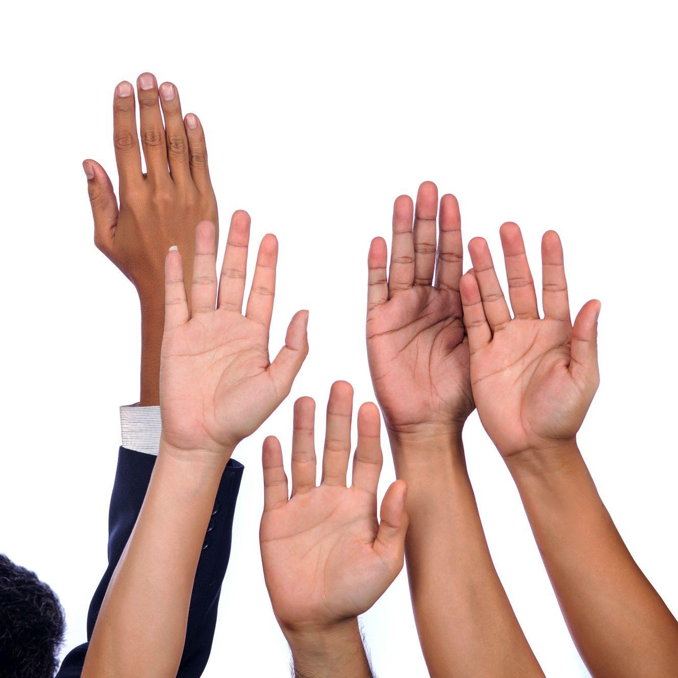 hands raised get involved