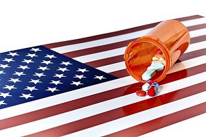 pills on American flag