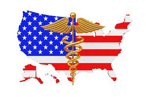 Caduceus Symbol on American flag