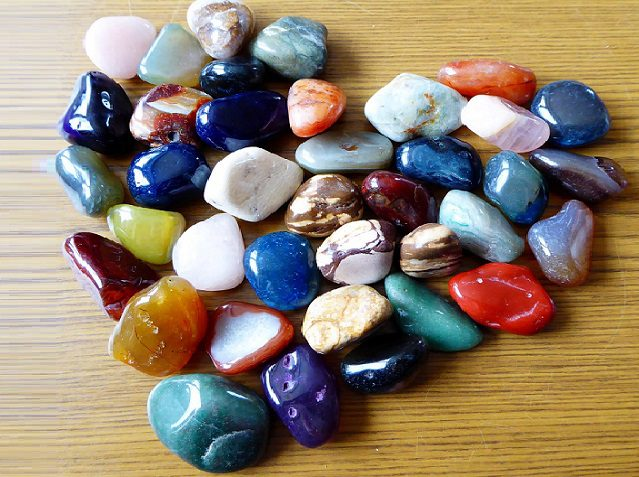 polished rocks in a heart