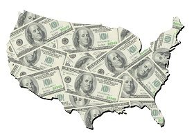 US map with dollar bills money