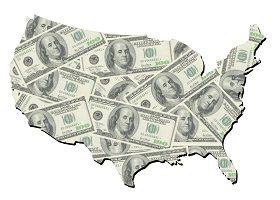 US map with dollar bills money