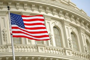 Capitol Washington DC American flag