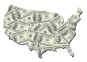U.S. map with dollar bills
