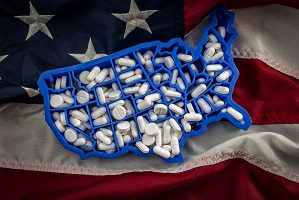 U.S. map with pills